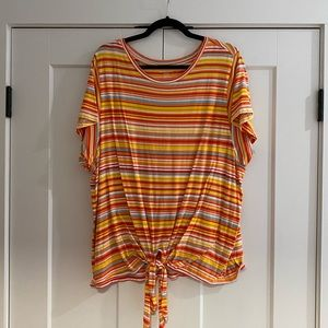 Bright Striped Tie Front Tee